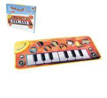 Tapete teclado piano musical infantil divertido com luz a pilha 73x29cm na caixa - Dm Brasil