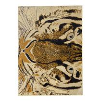 Tapete Tigre Retangular Veludo 48x90 cm Creme - Rayza