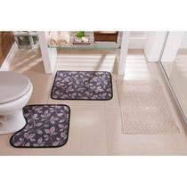 Tapetes para Banheiro Atoalhado com Base Antiderrapante Estampa Floral 3 Peças - Guga Tapetes
