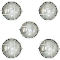 Tartaruga Circular 18cm Aluminio Pint. Epoxi E-27 1 Lamp. Max 60w C/ Grade Branca 5 unidades - Home Line