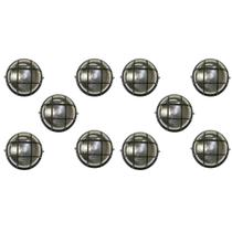 Tartaruga Circular 18cm Aluminio Pint. Epoxi E-27 1 Lamp. Max 60w C/ Grade Preta 10 unidades - Home Line