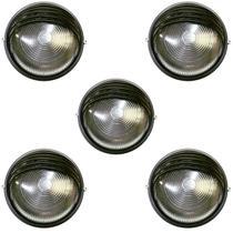 Tartaruga Circular 18cm Aluminio Pint. Epoxi E-27 1 Lamp. Max 60w Meia Cana Preta 5 unidades - Home Line