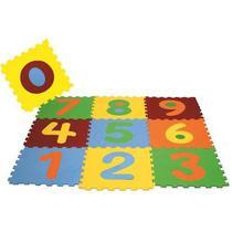 Tatame Tapete Eva Bebê Infantil Emborrachado 28x28cm Kit 10 peças Com Números destacáveis -