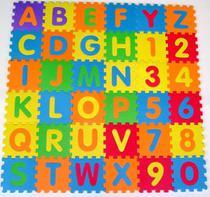 Tatame Tapete Infantil Alfabeto Alfanumérico 12x12cm 72 Pçs - Tuca Home