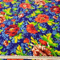 Tecido Crepe Bubble 1,40m Estampado Floral Laranja Folhagem Verde Fundo Azul - Aras Tecidos