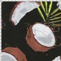 Tecido Estampado para Patchwork - Coleção Fresh Fruits Coco com Folhagem Fundo Preto (0,50x1,40) - Fernando Maluhy