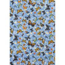 Tecido Gorgurinho Borboletas Azul - 1,50m de Largura -