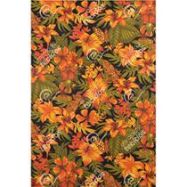 Tecido Gorgurinho Floral Laranja - 1,50m de Largura -
