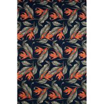 Tecido Gorgurinho Floral Laranja Fundo Marinho- 1,50m de Largura -