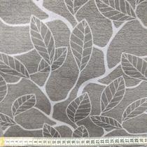 tecido jacquard 1,40m cinza folhagem branca - Aras Tecidos
