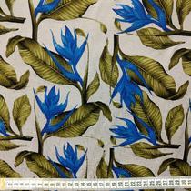 tecido jacquard 1,40m estampado flor azul Folhagem Fundo Branco 8227-11 - Aras Tecidos