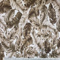 Tecido Jacquard 1,40m  Estampado Folhagem Marrom e Branco 6411-2 - Aras Tecidos
