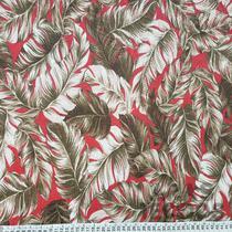 Tecido Jacquard 1,40m  Estampado Folhagem Marrom e Vermelho 6411-3 - Aras Tecidos