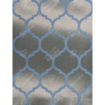 Tecido Jacquard Azul e Dourado Geométrico Tradicional - 2,80m de Largura - Jacquard tradicional