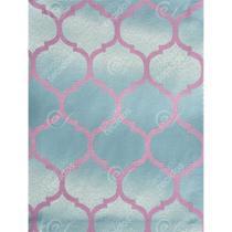 Tecido Jacquard Azul Tiffany e Rosa Geométrico Tradicional - 2,80m de Largura - Jacquard tradicional
