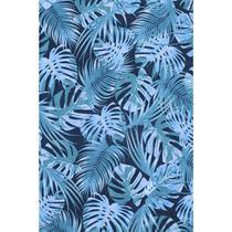 Tecido Jacquard Estampado Tropical Folhagem  Azul - 1,40m de Largura -
