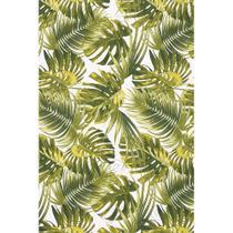 Tecido Jacquard Estampado Tropical Folhagem Verde - 1,40m de Largura -