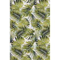 Tecido Jacquard Estampado Tropical Folhagem Verde e Azul - 1,40m de Largura -