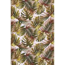 Tecido Jacquard Estampado Tropical Folhagem Verde e Vermelho - 1,40m de Largura -