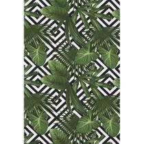 Tecido Jacquard Estampado Tropical Folhagem Verde Geométrico - 1,40m de Largura -