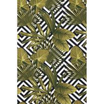 Tecido Jacquard Estampado Tropical Folhagem Verde Musgo Geométrico - 1,40m de Largura -