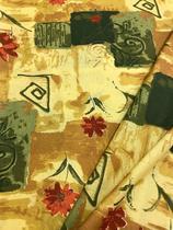 Tecido para decoração Gorgurinho abstrato floral bege e verde - Tmdecor