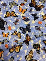Tecido para decoração Gorgurinho borboletas azul - Tmdecor