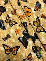 Tecido para decoração Gorgurinho borboletas bege - Tmdecor