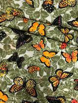 Tecido para decoração Gorgurinho borboletas verde - Tmdecor