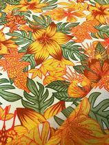 Tecido para decoração Gorgurinho floral laranja - Tmdecor