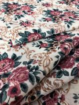 Tecido para decoração Gorgurinho floral vintage bege e vinho - Tmdecor