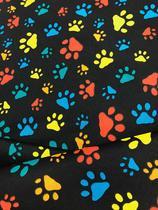 Tecido para decoração Gorgurinho patinhas coloridas - Fundo preto - Tmdecor