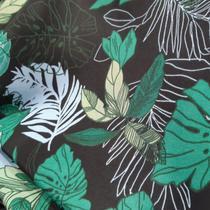 tecido tactel micro sport 1,60m Estampad folhagem grande fundo preto - Aras Tecidos