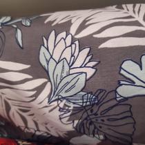 tecido tactel micro sport 1,60m Estampado folhagem fundo cinza - Aras Tecidos