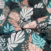 tecido tactel micro sport 1,60m Estampado verde com folhagens - Aras Tecidos