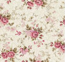 Tecido Tricoline 100% Algodão 50cm x 1,50m cor:creme Floral rosa - Caldeira
