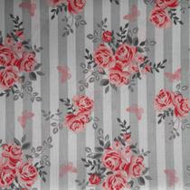 Tecido Tricoline 100% Algodão - Floral listrado  - 50x150 cm - 170 Fios