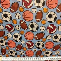 tecido tricoline 1,50m estampado bolas de futebol, volei, tenis, fundo azul claro - Aras Tecidos