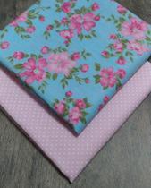 Tecido Tricoline Floral Poá Azul Rosa 70 X 50 Cm Kit 2 Unid - Inygrand