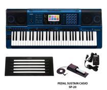 Teclado Casio Mz X500 k Azul +  Fonte E Pedal Sustain Sp20 -
