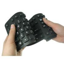 Teclado Flexível Dobrável Silicone Preto USB Impermeável pc - RTS