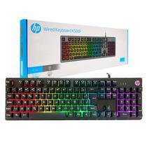 Teclado Gamer HP K500F USB Membrana LED RGB ABNT2 Preto -