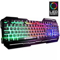 Teclado Gamer Luminoso Led Semi Mecânico Superfície Metal BA-539 - Briwax