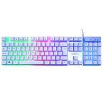 Teclado Gamer Oex Prismatic TC205 RGB Branco com fio -