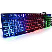 Teclado Gamer Semi Mecanico Luminoso Rgb Led Colorido - Exbom