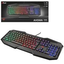 Teclado Gamer Trust Avonn GTX 830-W LED Rainbown USB Anti-Ghosting Preto 12 Teclas Multimidia 21621 -