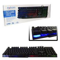 Teclado Gamer USB Semi Mecânico com Iluminação de LED RGB BK-152C - Exbom
