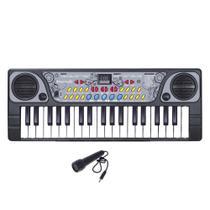 Teclado Infantil Eletrônico Musical Com Microfone 41cm - Dm Toys -