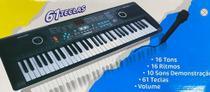 Teclado musical iniciante 61 teclas c microfone e usb - Importway
