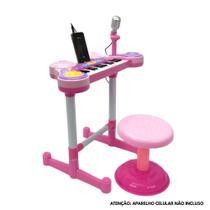 Teclado piano infantil + microfone + banquinho luz som rosa - mc18059-r - Mega Compras